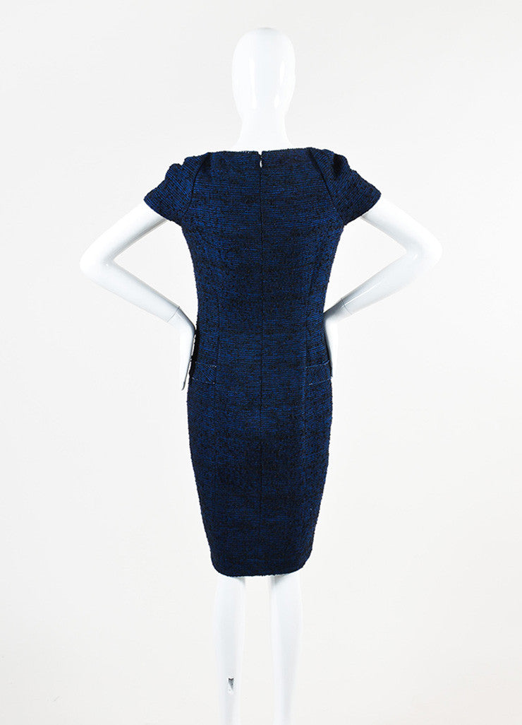 Chanel Blue and Black Alpaca and Wool Blend Tweed Embellished Cap Sleeve Dress Backview