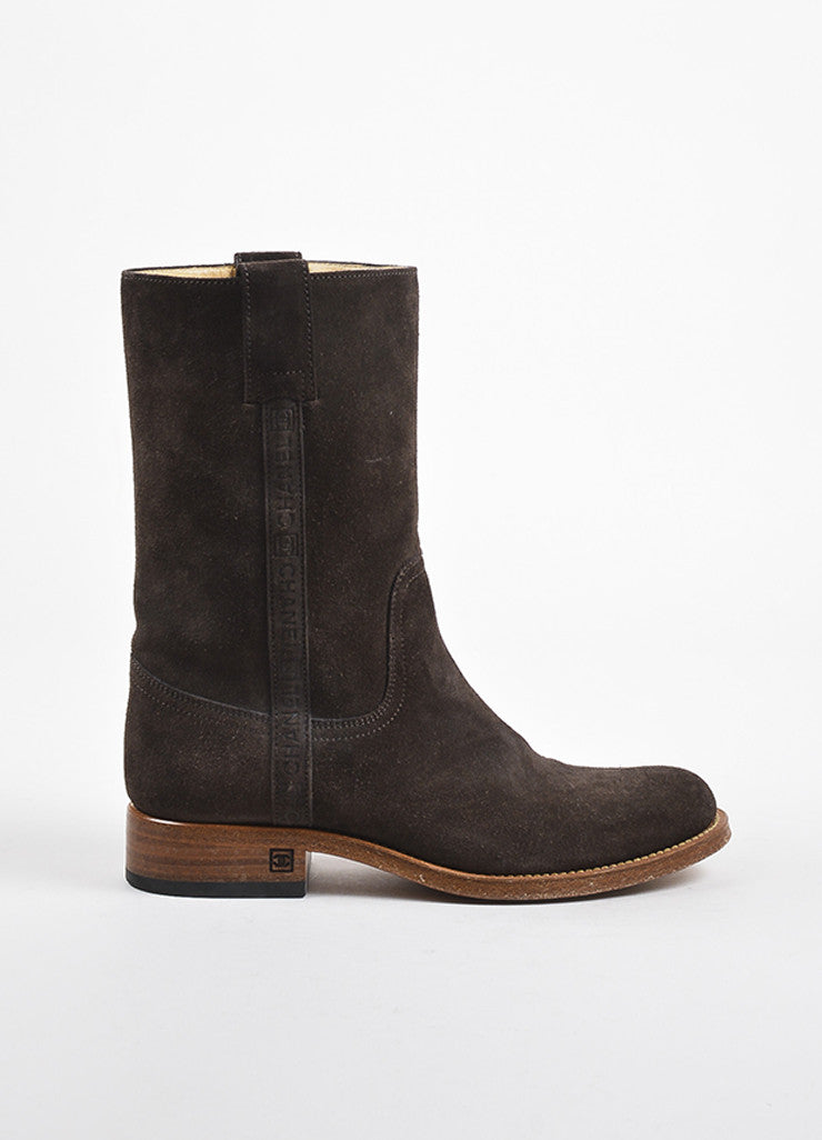 Chanel Brown and Tan Suede Logo Embossed Mid Calf Boots Sideview