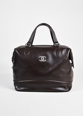"Chanel Dark Brown Leather SHW ""Country Ride"" Double Handle Bowler Bag front"