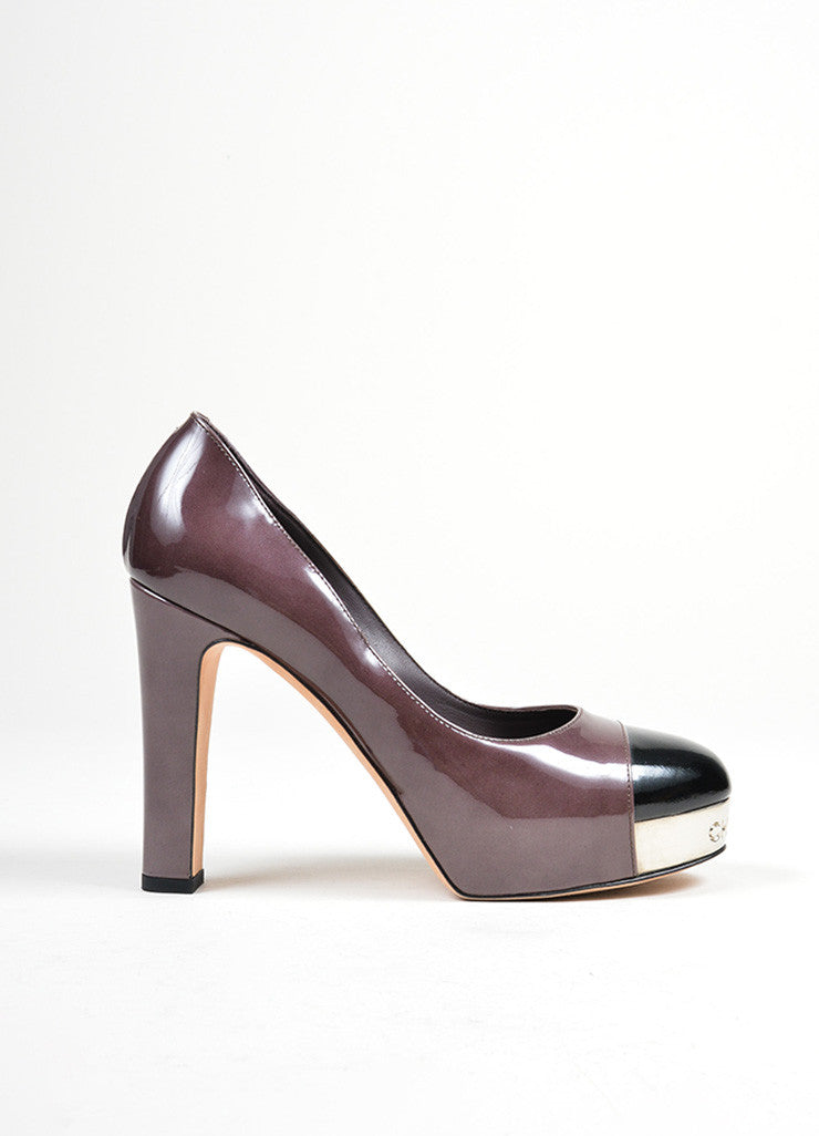 Dark Purple, Black, and Silver Chanel Patent Leather Metal Cap Toe Pumps Sideview