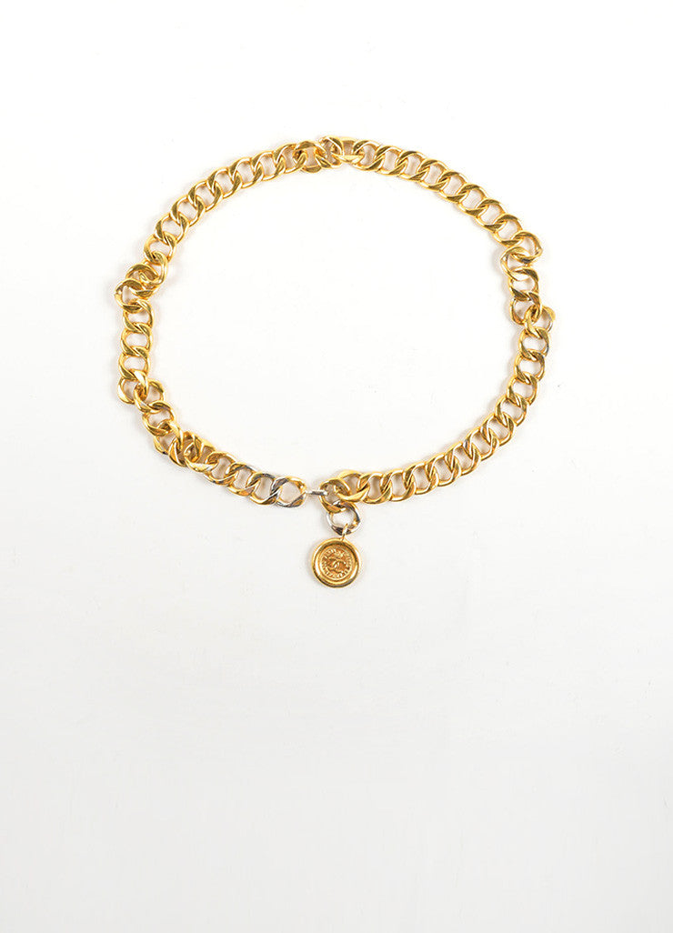 "Chanel Gold Toned Chain Link Coco Chanel Coin ""CC"" Medallion Belt Frontview"