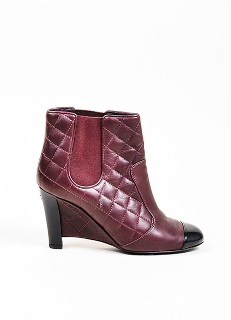 Maroon and Black Chanel Quilted Leather Patent Cap Toe Wedge Booties Sideview