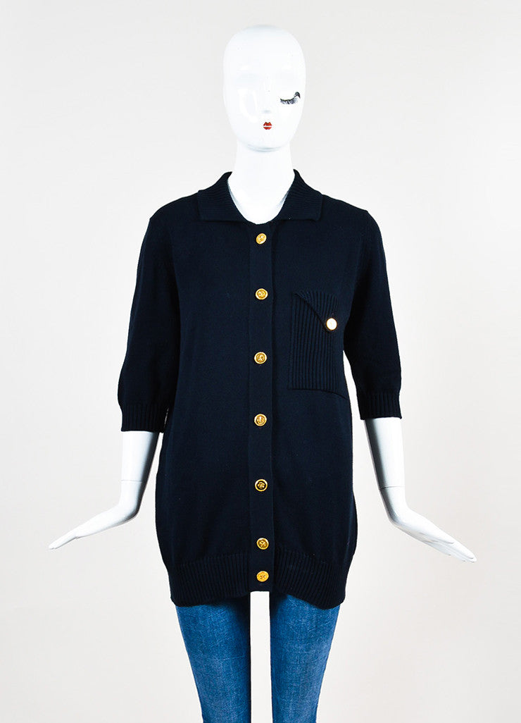 Chanel Navy Blue and Gold Toned Cotton Rib Knit Pocket Half Sleeve Sweater Frontview 2