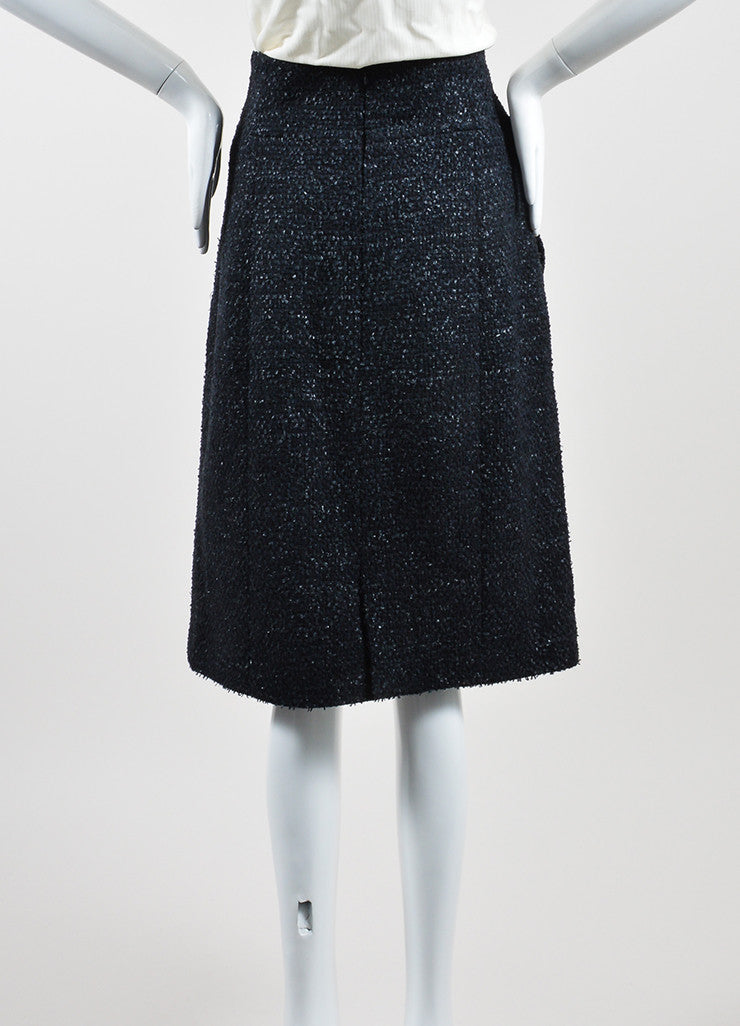 Navy Blue Chanel Wool Blend Tweed Pencil Skirt Backview