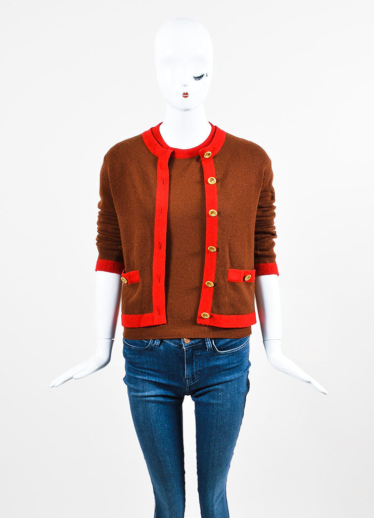 Chanel Red and Brown Knit Color Block Short Sleeve Top and Cardigan Sweater Set Frontview