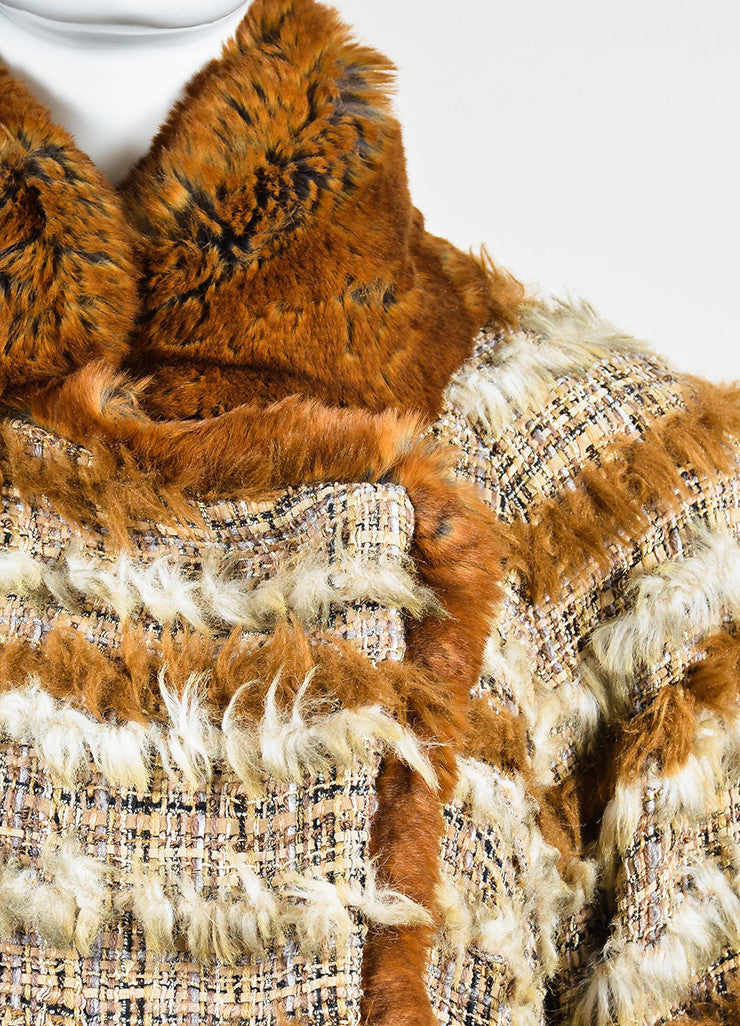 Brown and Cream Chanel Suede Tweed Striped Trim Fantasy Fur Coat Detail