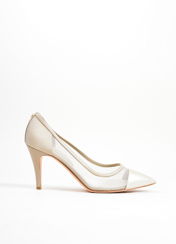Silver Chanel Mesh Metallic Leather Pointed Cap Toe 'CC' Pumps Sideview