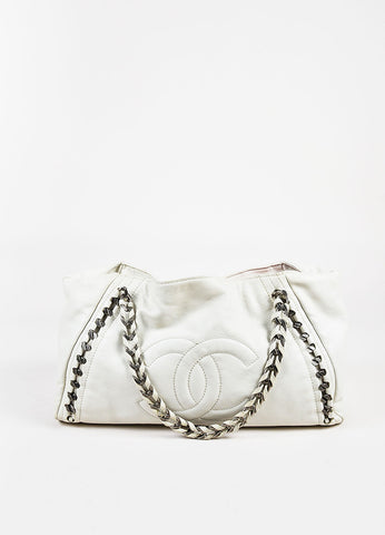 "Chanel Cream Leather 'CC' Logo ""Modern Chain East/West"" Shoulder Tote Bag Frontview"