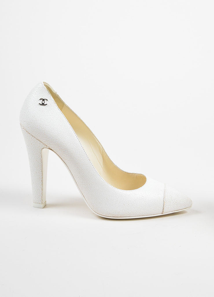 White Chanel Crackle Leather Pointed Cap Toe High Heel Pumps Sideview