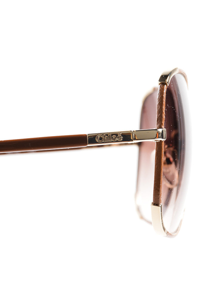 Chloe Brown and Gold Toned Oversized Sunglasses Detail