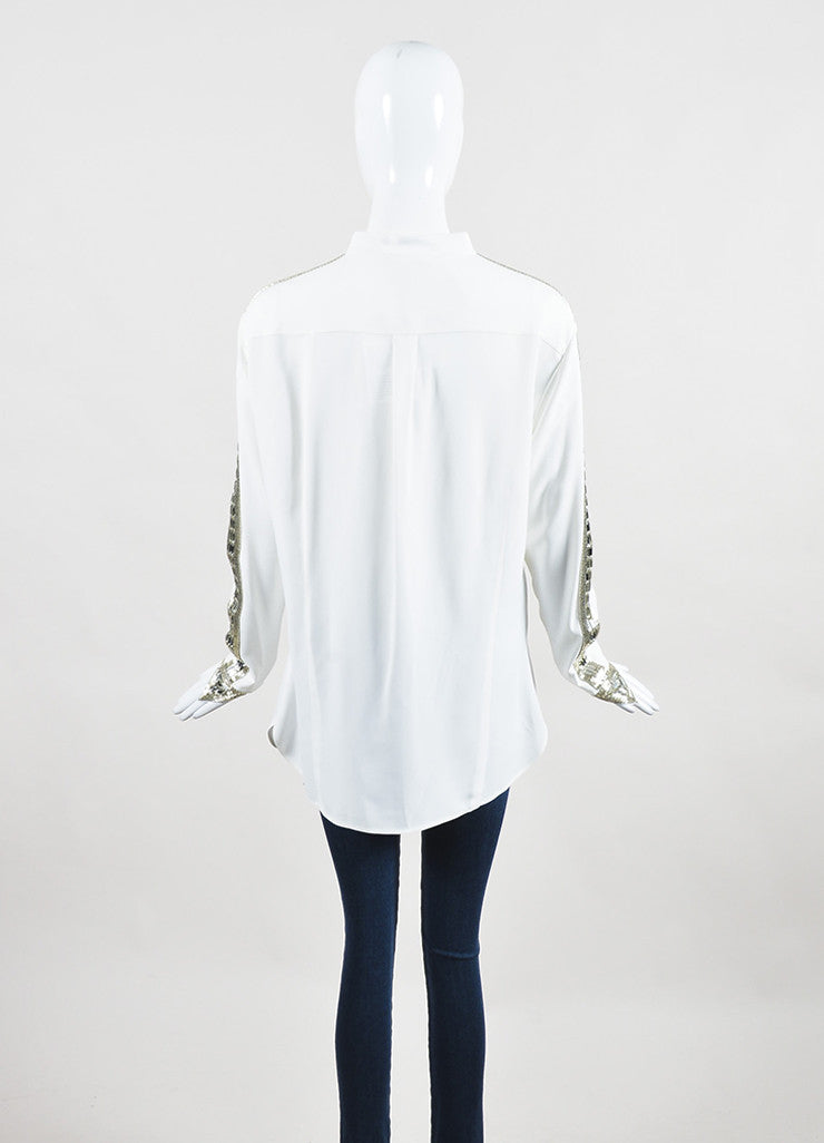 Chloe White Sequin Rhinestone Embellished Long Sleeve Blouse Top Backview