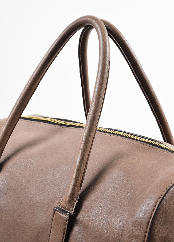 "Chloe Taupe Leather Duffle Satchel ""Madeleine"" Handbag Detail 2"