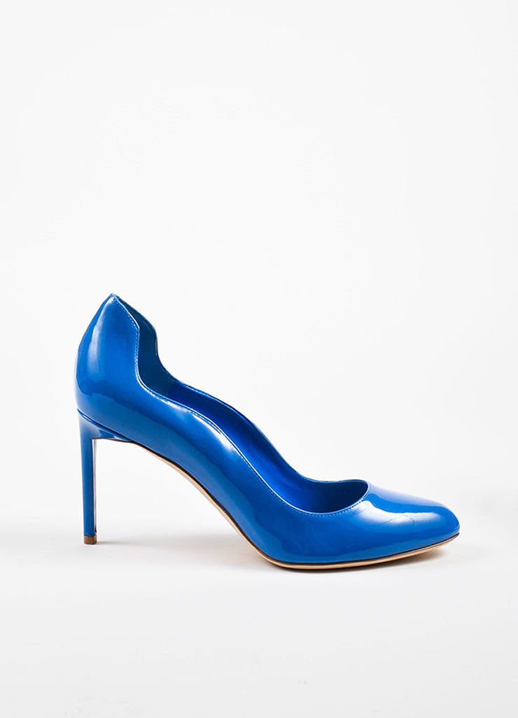 "Blue Christian Dior Patent Leather Wavy ""Silhouette"" Pumps Side"