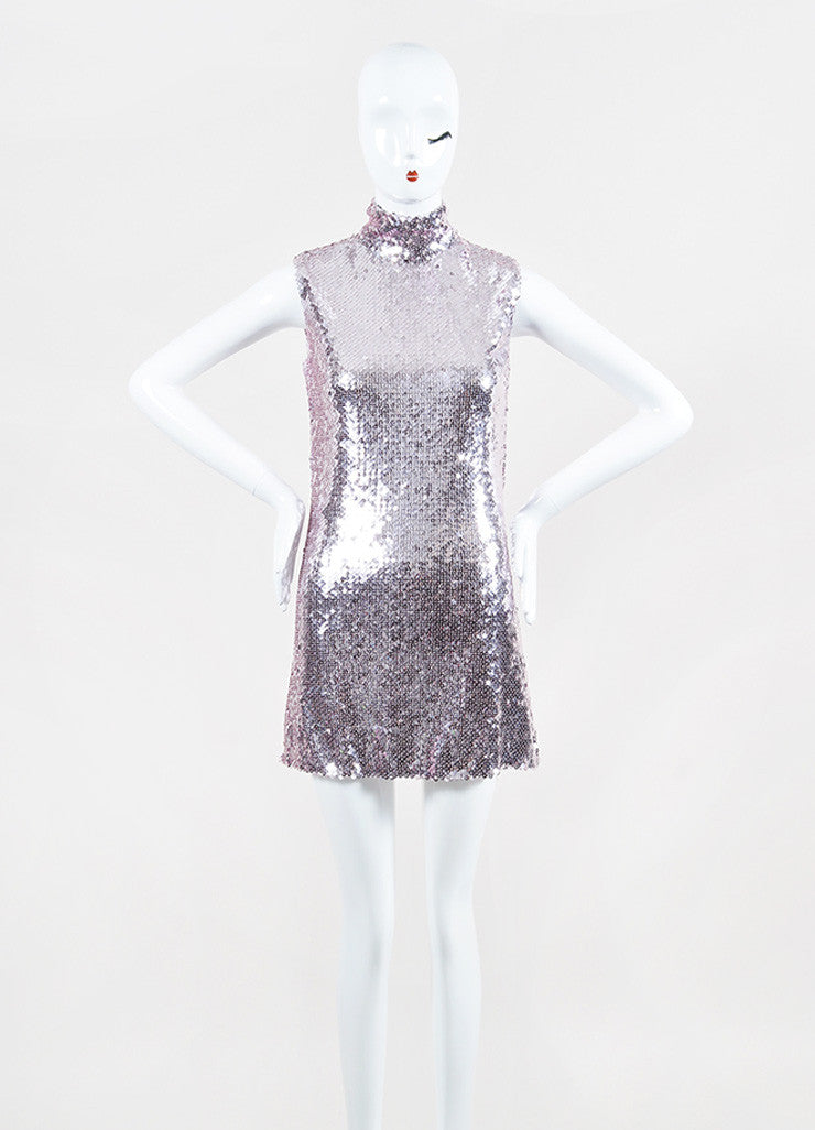 Christian Dior Pink Sequin Sleeveless Band Collar Shift Dress Frontview