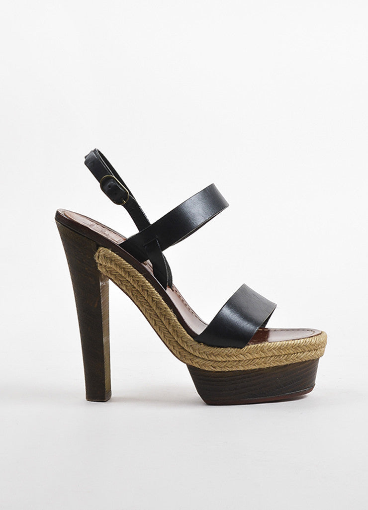 "Christian Louboutin Black Leather Wooden Heel Platform ""Satrinxa"" Sandals Sideview"