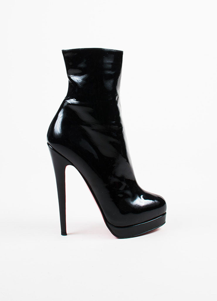 Christian Louboutin Black Patent Leather Almond Toe Mid Calf Stiletto Boots Sideview