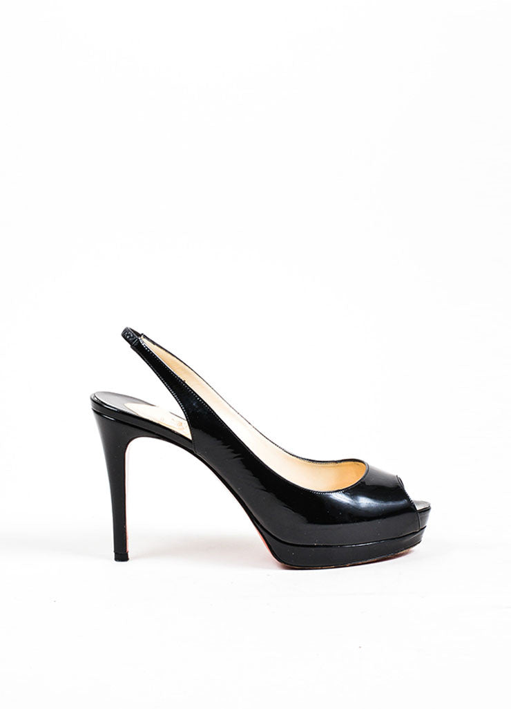 "Black Christian Louboutin Patent Leather ""Cathay 100"" Slingback Pumps Sideview"