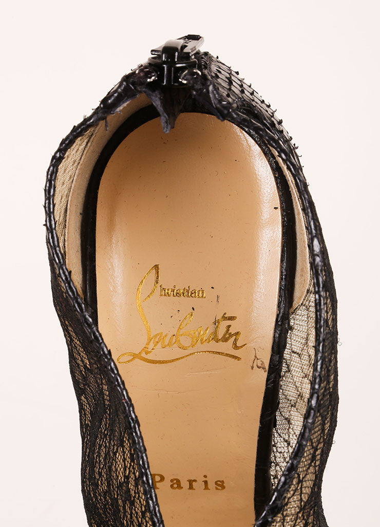 "Christian Louboutin Black Python Leather and Lace ""Janet"" Wedge Booties Brand"