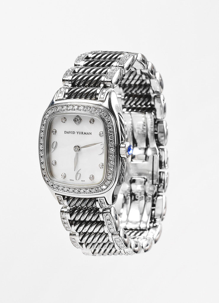 "David Yurman Stainless Steel Diamond Mother Of Pearl ""Thoroughbred"" Watch Sideview"