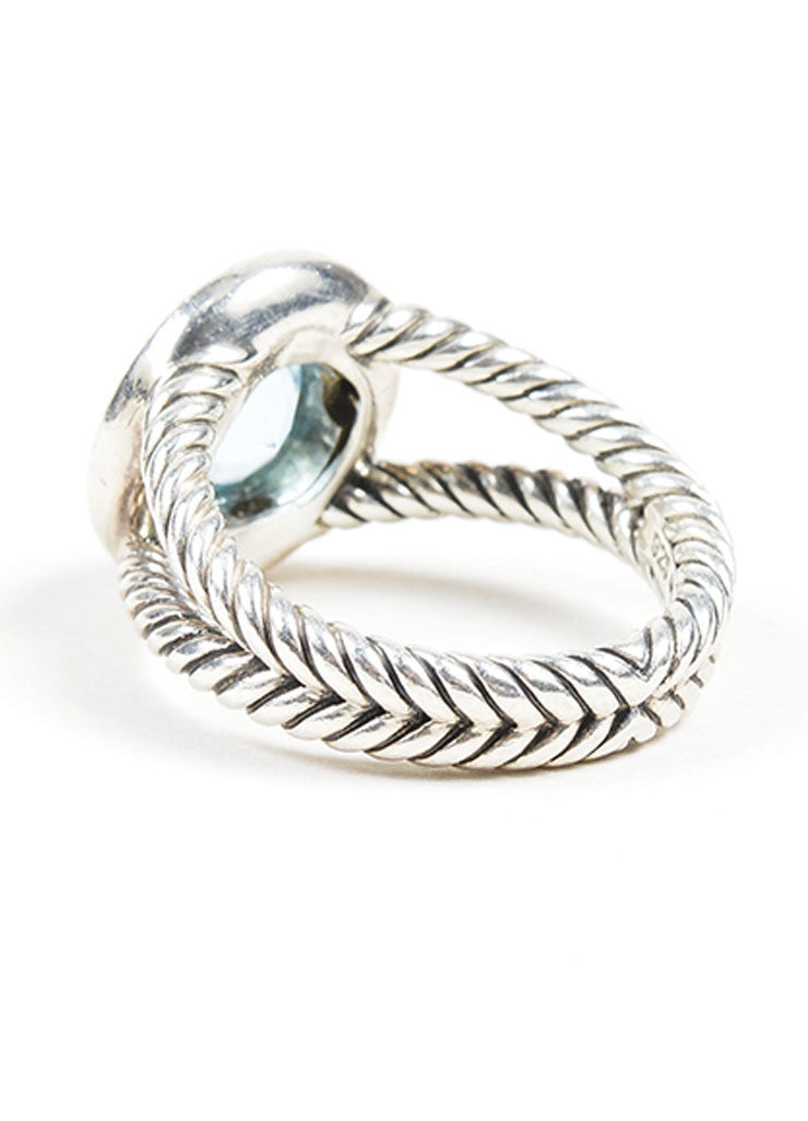 Sterling Silver David Yurman Blue Topaz Ring Back