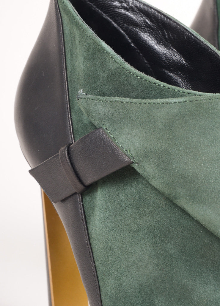 Derek Lam New In Box Black and Green Suede Leather Wrap High Heel Booties Detail