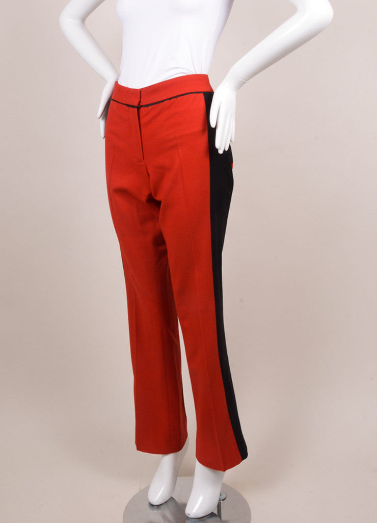 Derek Lam Red and Black Wool Trousers Sideview