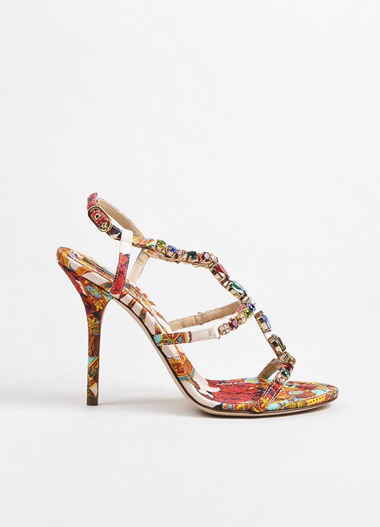 Dolce & Gabbana Multicolor Silk Print Jeweled Strappy Sandals Sideview