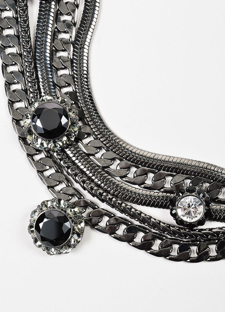 Dominique Aurientis Gunmetal Twisted Multi Strand Chain Link Rhinestone Necklace Detail