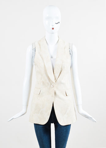 Dries Van Noten Cream and Grey Cotton Blend Brocade Single Button Vest Frontview 2