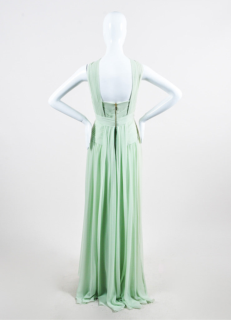 Mint Green Elie Saab Chiffon Pleated Cross High Neck Sleeveless Gown Backview