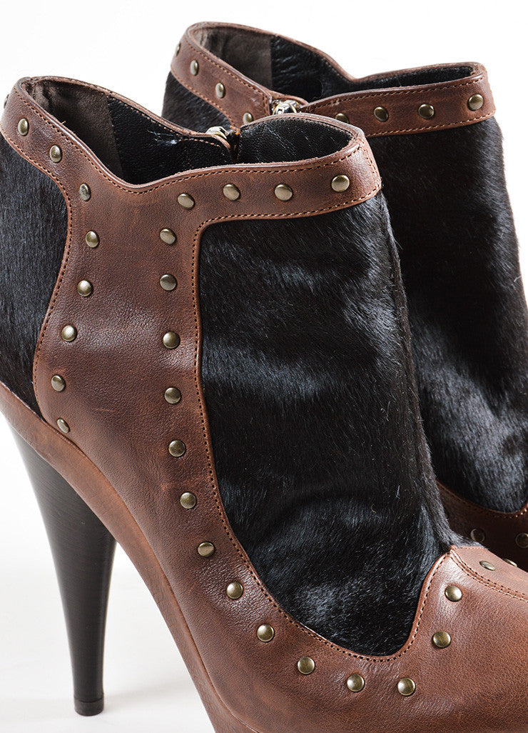 Fendi Brown and Black Leather Pony Hair Studded Platform High Heel Booties Detail