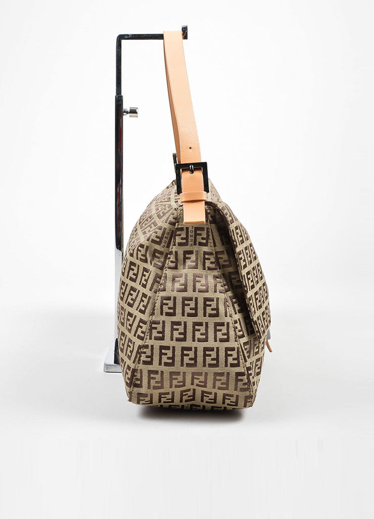 "Brown Fendi 'FF' Monogram Canvas ""Zucchino Mama Forever"" Shoulder Bag Sideview"