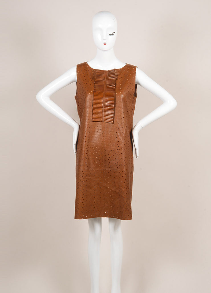 Fendi Brown Preforated Sleeveless Leather Shift Dress Frontview