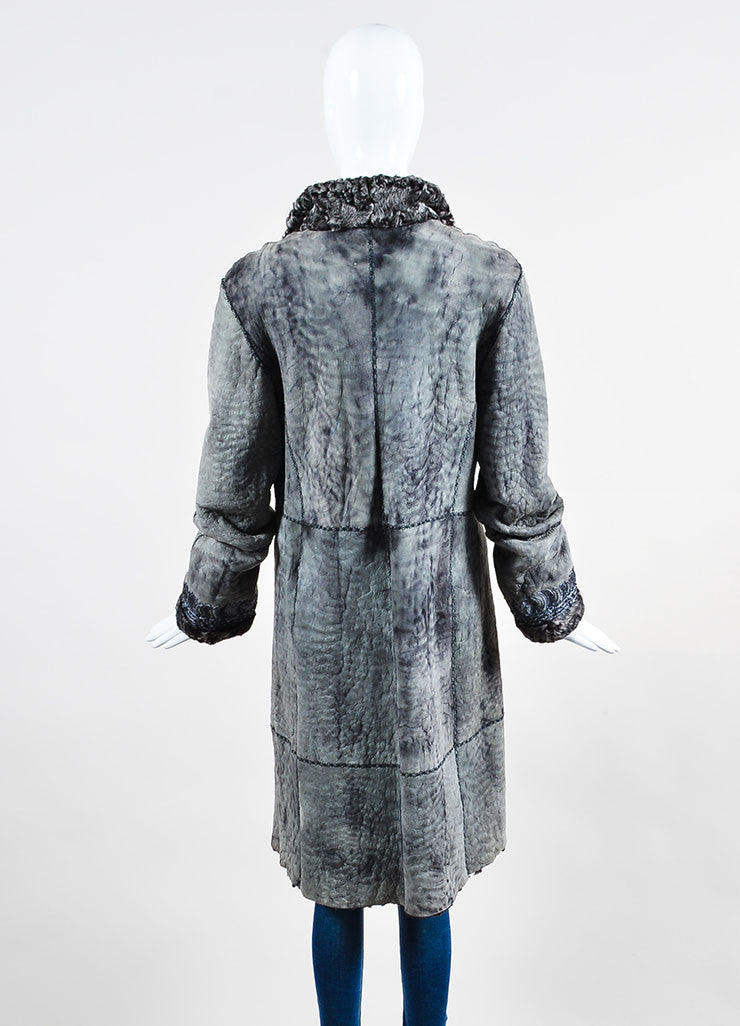 Giuliana Teso Grey Suede Leather Shearling Fur Embroidered Embellished Coat Backview