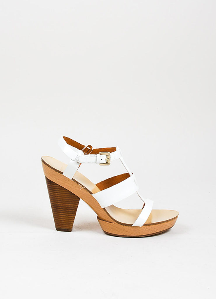 White and Tan Givenchy Patent Leather Strappy Wooden Platform Sandals Sideview
