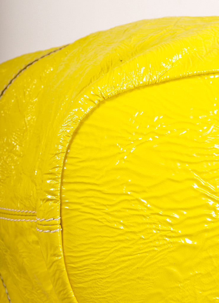 "Givenchy Canary Yellow Crinkled Patent Leather Medium ""Nightingale"" Bag Detail View"