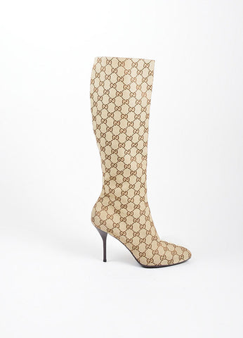"Tan and Brown Canvas Gucci ""Guccissima"" Monogram Knee High Boots Sideview"