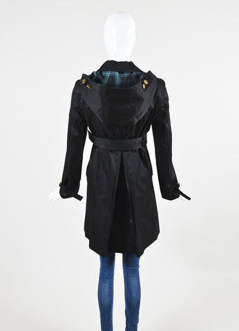 Gucci Black Twill Belted Hooded Jacket Backview