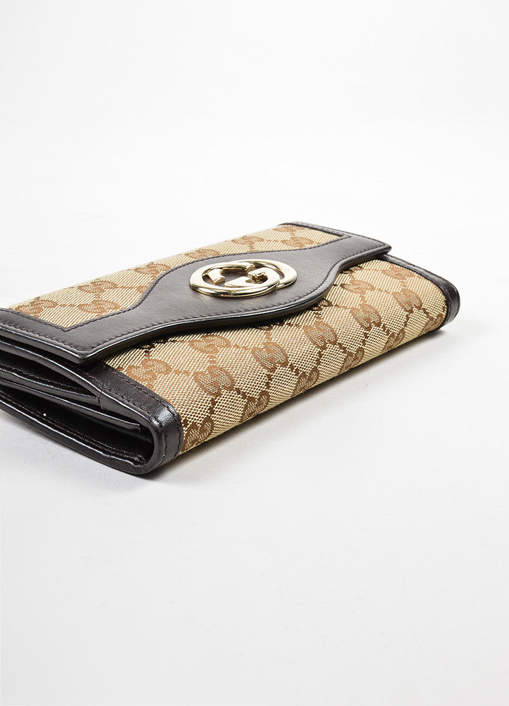 "Gucci Brown and Tan Canvas and Leather Monogram ""Interlocking G Continental"" Wallet Bottom View"