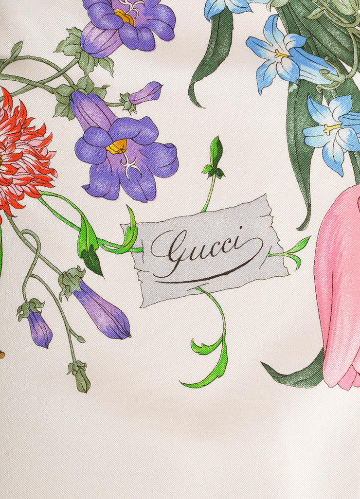 Gucci Cream and Multicolor Floral and Insect Print Silk Scarf Brand