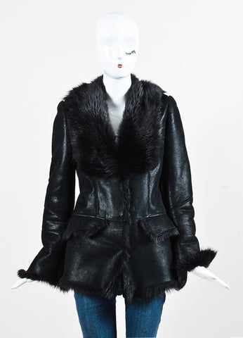 Gucci Metallic Black Leather and Fur Trimmed Patterned Coat Frontview 2