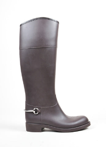 Brown Gucci Rubber Horsebit Accent Knee High Rain Boots Sideview