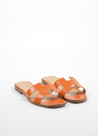 "Hermes Orange and Brown Leather Flat ""Oran"" Slide Sandals Frontview"
