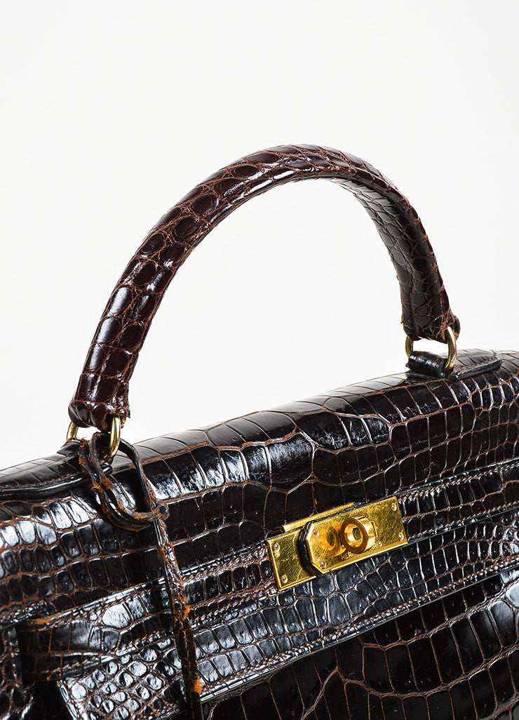 "Hermes Brown and Gold Toned Porosus Shiny Crocodile ""Kelly 32"" Handbag Detail 6"