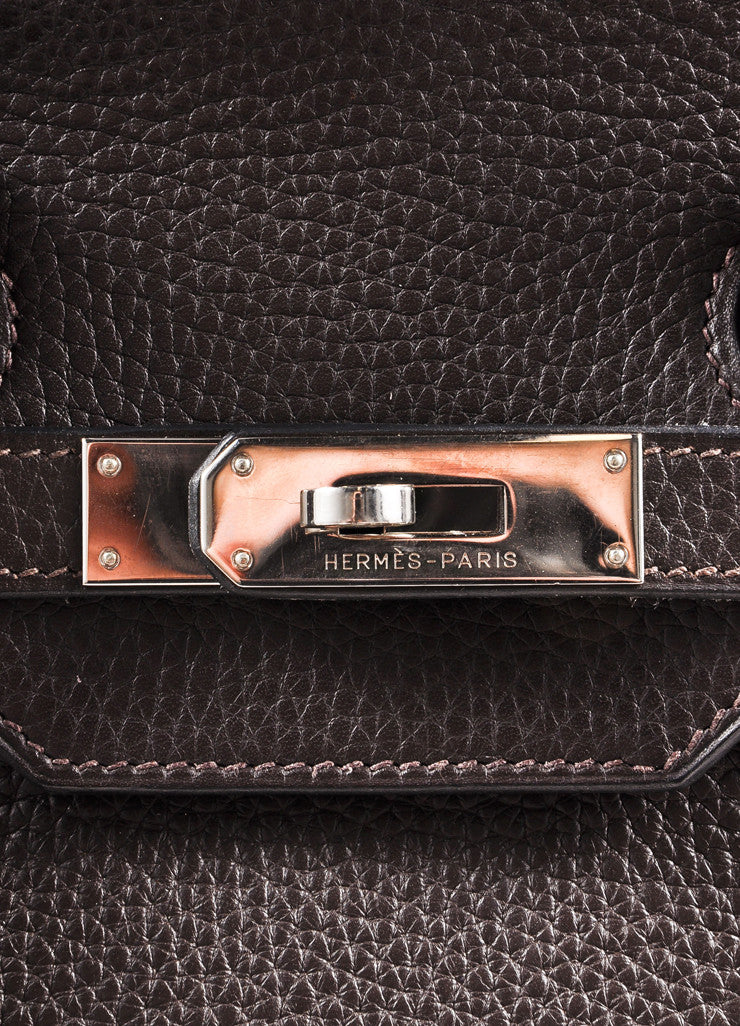 "Hermes Chocolate Brown and Silver Toned Palladium Clemence Leather 35cm ""Birkin"" Bag Detail 6"