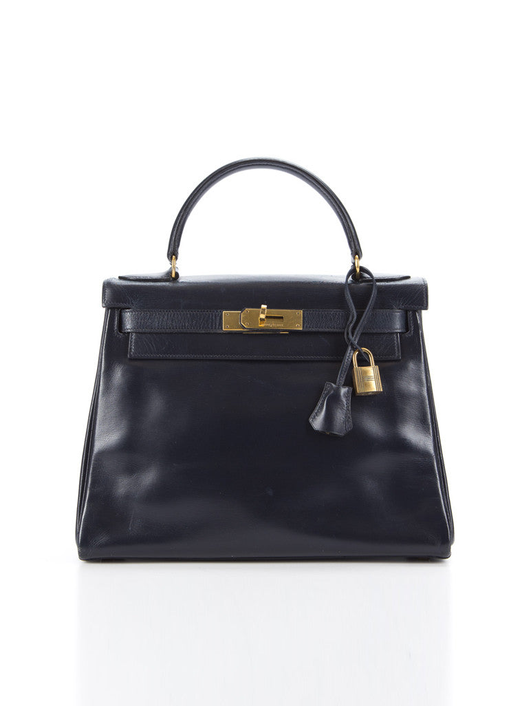 "Hermes Navy GHW Box Calf Leather ""Kelly Retourne"" 28 cm Bag Frontview"