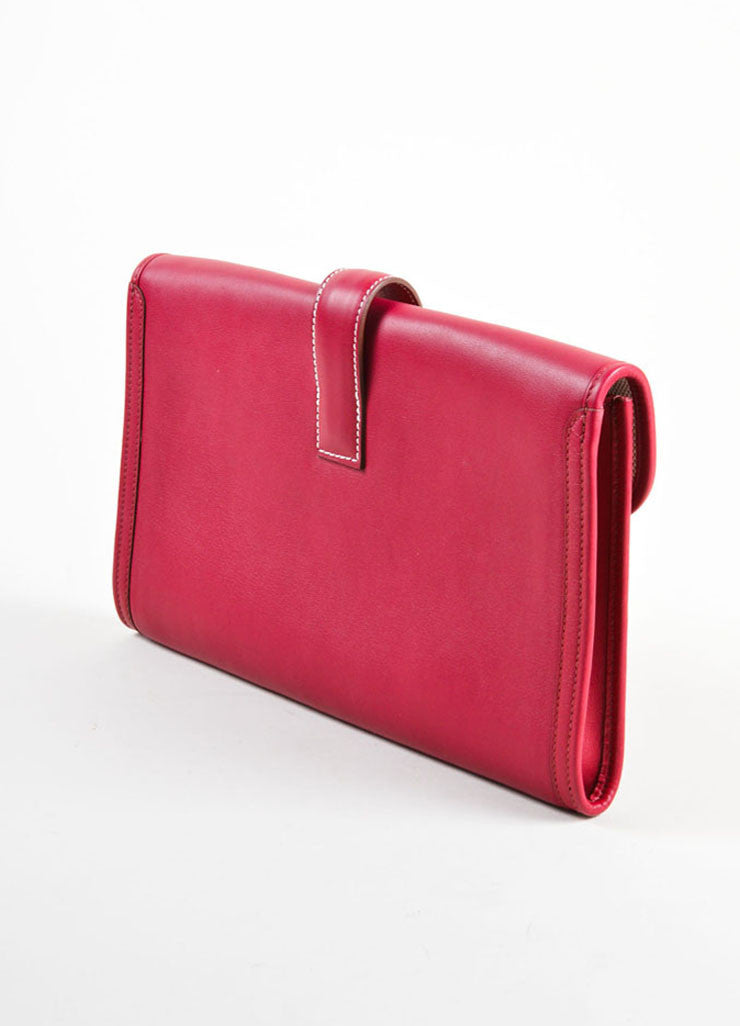 "Hermes Red ""Rouge"" Swift leather Toile Lined ""Jige PM"" Clutch Bag Backview"