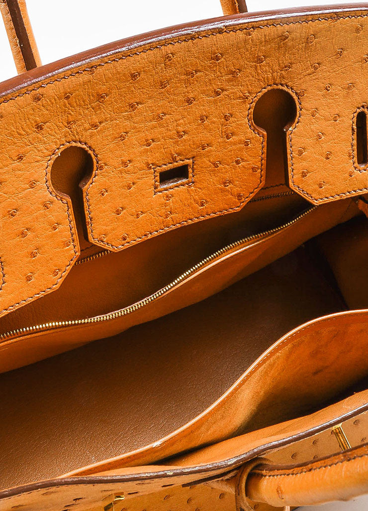 "Hermes ""Saffron"" Orange Tan Ostrich Leather 35cm ""Birkin"" Handbag Interior"