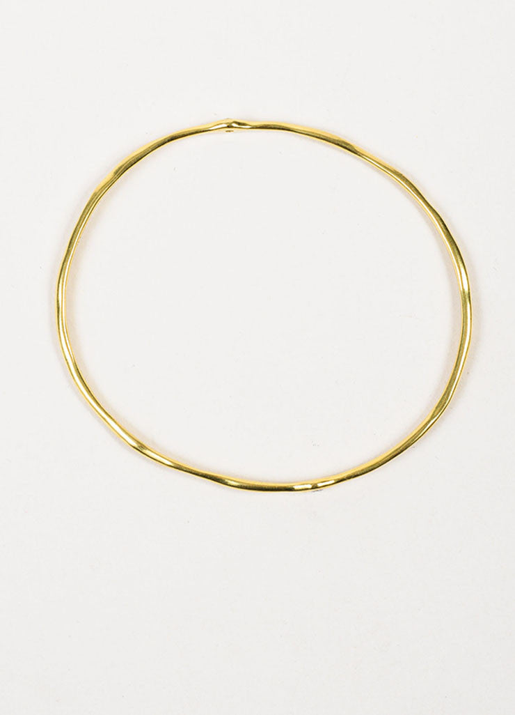 "Ippolita 18K Yellow Gold ""Glamazon"" 2 Diamond Bangle Bracelet Topview"