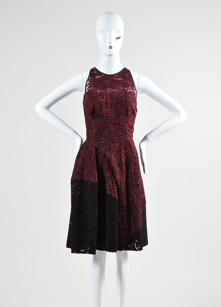 J. Mendel Maroon and Black Lace Pleated Sleeveless Cocktail Dress Frontview